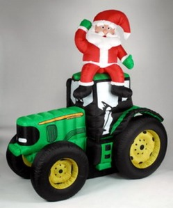 Seriously, why the hell is Santa on a tractor? He lives in the North Pole so I'm not sure he has any use for one.