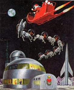 Merry Christmas, from space. Seriously, if you have an engine, do you really need reindeer in spacesuits? Also, space igloo?