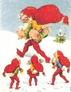 Well, he stole a couple of pigs from the elves. Naughty Santa. Seriously, who thought of this?