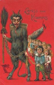 As you might know, the Krampus is a creature known to punish bad children on Christmas. And it seems he's got a whole legion of brats. He's not supposed to be nice.