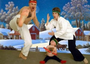 Just when do little kids have a hairier chest than some adult men? Also, what does martial arts have to do with Christmas?