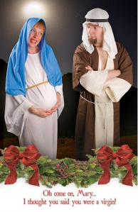I may not have much of a problem with the Mary and Joseph costumes, but the caption is a whole different matter. I mean it's kind of offensive.