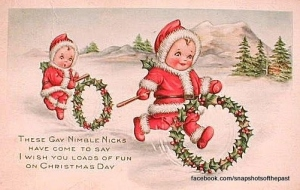 This just defies all explanation. Seriously, little Santas with holly hoops? That's just freaky, man.