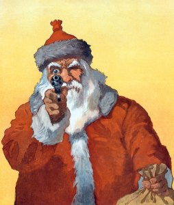Okay, okay, big guy. Put the gun down. No need to use any violence in the situation. Yeah, Santa has gone homicidal.