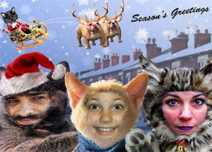 I know this is photoshopped but this is pretty strange, especially with a cat Santa and dog reindeer.
