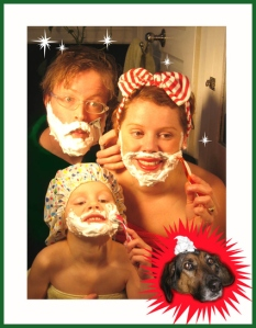 Seriously, why give a kid a safety razor? Also, I don't think mom and kid need to shave, unless they have some freak hormone imbalance.
