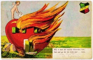 Well, maybe Elvis said it better. No need for graphic metaphoric images. Also, a heart house fire, really? That's insane!