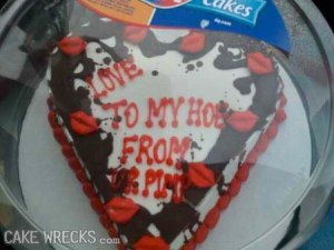 Ladies, you might want to give he burning house cake if any guy gives you this one.