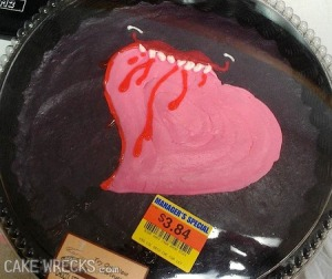 This is pretty gory for a Valentines cake. Also, whatever is chewing the heart doesn't seem to have any eyes.
