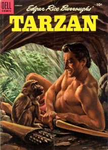 Hmm....Tarzan and monkey in cave alone with a bow and arrow stash. Wonder whether the monkey will either be eaten or worse.