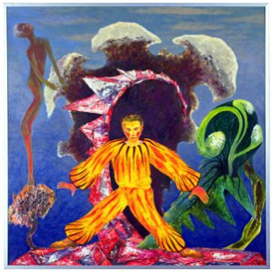 The dancing clown in this painting is beyond creepy. The undersea party of your nightmares.