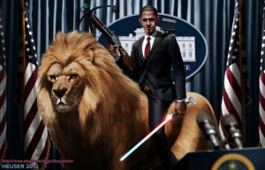 Now here's change I can believe in. Still, like him or not, he's better than Bush in comparison. At least he got Bin Laden, get healthcare passed, end the Iraq War, and helped avoid war with Syria. Not to mention, he does look very badass on the lion which looks very hungry for John Boehner.