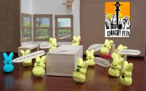 Watch these twelve angry rabbits decide whether the accused gets smored.