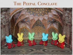 I love how these bunnies look in their red robes and crosses.