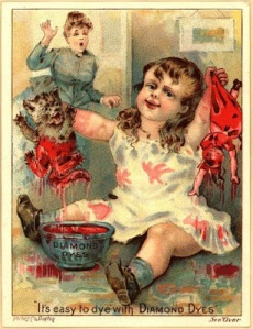 If my kid was playing with some blood colored dye I'd feel the same way like that horrifying child's mother. I wonder if this child's utter delight in it may foreshadow a future as a serial killer.
