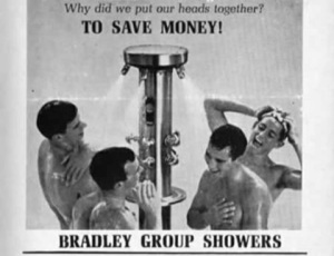 Sure group showers may save money and be prevalent among athletes. Yet, they also tend to be the butt of gay jokes, especially since the world of men's sports is rather homophobic. Still, these boys seem perfectly fine naked in each other's company. One is even singing while washing his hair. However, this is in here because it was made at a highly homophobic time yet much of it may be teeming with gay subtext to add further irony.