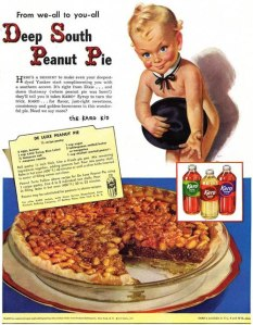 This kid isn't cute. It's as if a terrifying kewpie doll had just come to life and is advertising this peanut pie and just drinks just to fatten us up to later eat for its own pleasure. Yeah, that's it. God, just looking at that kid gives me nightmares.
