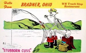 That guy is certainly a stubborn cuss all right. He's probably been fishing forever and hasn't caught anything. Of course, the bird's wondering why he's still there.