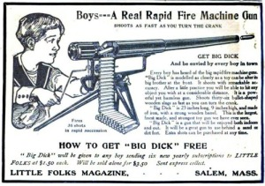 "Even funnier, this gun is called ""Big Dick."" Now you can experience the machine gun's rapid fire that will traumatize your WWI veteran dad from his days in the trenches. Yet, unlike him, you won't experience the dirty trenches or the vast carnage that accompanied the Great War. Now isn't that fun?"