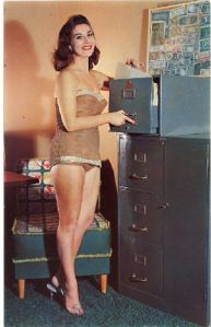 Seriously, I'm sure women didn't dress up in bathing suits at the office during the 1950s. Also, why wear a swimsuit in paper bag brown?