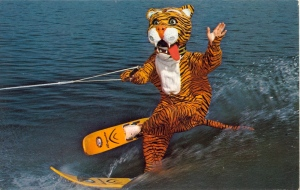Of course, I wonder how many people may find the idea of seeing someone water ski in a tiger costume somewhat terrifying. This was probably made to attract furries if any of them existed at the time.