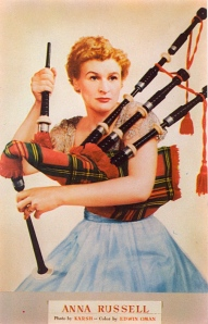 I'm not sure if she's going to play her bagpipes or assault someone with them off-camera. Either way, you really don't want to mess with this bonny lass.