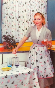 Also, she appears to be making something to do with cherries, like martinis perhaps. Because 1950s housewives need them to escape from the empty vacuums of their lives as second-class citizens.