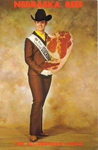 Sorry, I didn't notice is was the 1968 Miss Nebraska in her androgynous 1960s Willa Cather style. Seriously, that is one of the ugliest pantsuits I have ever seen.
