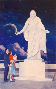 Seriously, there are some Mormon beliefs that are pretty messed up. Still, this reminds me more of a statue of Zeus than Jesus given the space backdrop and clouds.