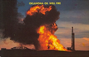 Seriously, whoever in Oklahoma thought a postcard depicting an oil well fire would be a good idea out to be fired from the state's tourist industry altogether. In the oil and gas industry, well fires are disasters that cause not only environmental devastation and destroy homes but also cost millions of dollars. This is not something that makes me want to visit Oklahoma. Rather it makes me want to avoid it altogether.