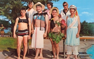 Reminds me of the Mr. Yough Competition during my high school days. Still, these guys would probably put the men of Monty Python to shame. And this swimsuit picture would never make the Sports Illustrated cover, not that it should. My apologies to cross dressers everywhere.