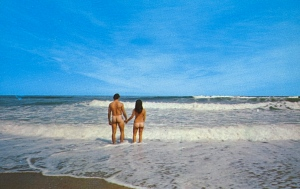 Seriously, why would anyone would send a postcard from a nude beach? I mean no one wants to see a couple of bare butts in a postcard.