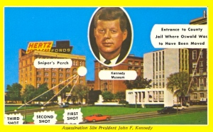 This is simply a terrible postcard, especially since it tends to try to capitalize the murder of a US president, a national tragedy in itself. Seriously, Dallas, you could've used the Cowboys your people obsess about to annoying levels. Methinks you might be part of some larger conspiracy here.