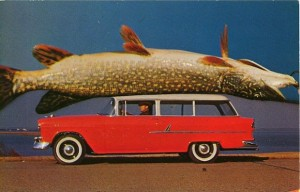 Sir, I hate to break it to you but shouldn't your gigantic fish be strapped down on the roof of your station wagon? You know it can slip off at any time.