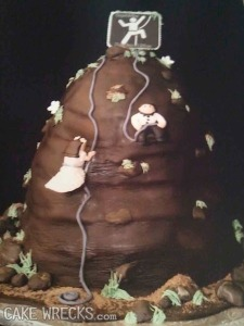 Is it just me, or does that cake look like a giant turd with plant foliage on it? Still, I hope they have a rock solid marriage until death do they part, which in this case is one of them losing control of the bungee cords and falling 100 feet to their demise.