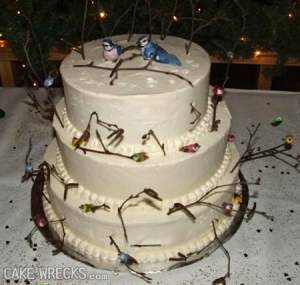 Sure the birds may be beautiful in the snow but all the branches on this cake seem dead for some reason. It doesn't seem that this cake was made for a happy occasion since it looks rather depressing if you ask me.