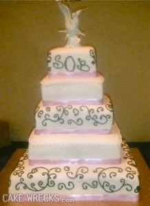 Of course, this cake is bound to get a lot of giggles since the initials spell SOB. Couples, before you use monograms on your wedding cake, make sure they don't spell something that has a negative connotation or makes people laugh.