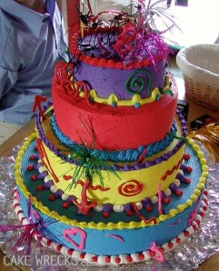 "Then again, this cake kind of makes a lame show at it. Still, very colorful though but the ""wow"" factor is missing."
