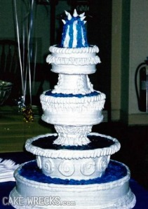 This cake actually looks pretty nice except for the spikes on the top which makes it better suited for a horror movie.