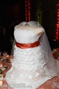 Seriously, this is freaky if you ask me. Why have a cake of the bride's bust? Also, the fact it doesn't seem to have a head is even more disturbing.