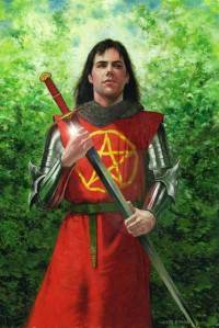 Sir Gawain was King Arthur's nephew and original champion. He's known for his unparallelled courteousness and his way with women. His symbol is a gold pentangle on a red background (at least from the Green Knight legend).