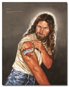 "Except this could easily be some 1990s rock musician who could easily look like Jesus. Also, he probably wouldn't be looking at us with such intensity of a male stripper into his job. He's probably using his ""Father"" tattoo as an excuse to show off those biceps to some Christian ladies."