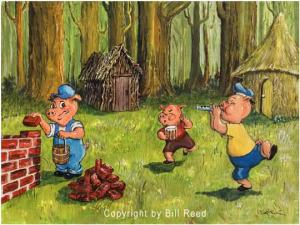 Third little pig working on his brick house while his brothers have a good time. Boy will they pay for it later.