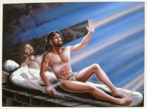 I think this moment is meant to be left to the imagination. Also, when the women approached the tomb, Jesus' body wasn't there at all. Not to mention, why does Jesus look like he's just out of a gym.