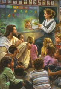 Seriously, I kind find this picture of Jesus sitting with the little ones during story time a bit unnerving for some reason. Just find seeing a 1st century man in his thirties at a modern day elementary school just out of place.