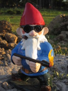 I'm sure Garden gnome Sherman has endured enough strain from being viewed as a conventional tacky lawn ornament and is now proceeding to burn the garden down in a blaze of glory.