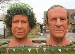 Now nothing depicts Great Britain as a nation of gardening fanatics than having Queen Elizabeth II and Prince Philip being depicted as a couple of giant Chia heads created by people who probably have too much time on their hands. Seriously, this is just so over the top if you know what I mean yet the Queen does have a lot of nice flowers in her hair.