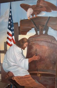 I don't know about you but Jesus seems a little frustrated over being in a painting with lots of Americana. I mean he doesn't seem to be happy as a figure of American patriotism.