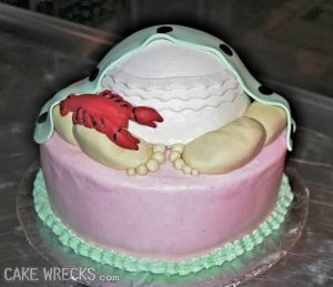 Looks more like a red scorpion to me and we know those are poisonous. Also, I think the idea of baby bottom cakes is a very tacky idea if you ask me.