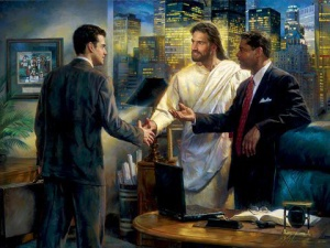 I don't know about you but while I think Jesus' presence should be encouraged in business meetings, it doesn't mean everyone's going to listen to him. Also, remember that time when he's yelling and overturning tables at the temple. Man, you don't want to see him like that.